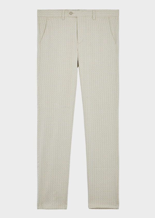 Chino slack skinny en coton stretch à pois beige - Father and Sons 39213
