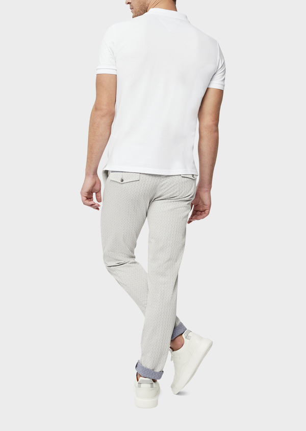 Chino slack skinny en coton stretch à pois gris - Father and Sons 38711