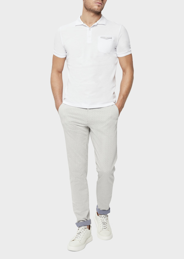 Chino slack skinny en coton stretch à pois gris - Father and Sons 38710