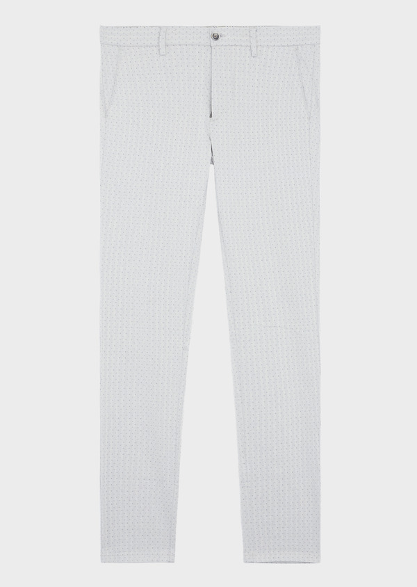 Chino slack skinny en coton stretch à pois gris - Father and Sons 38708