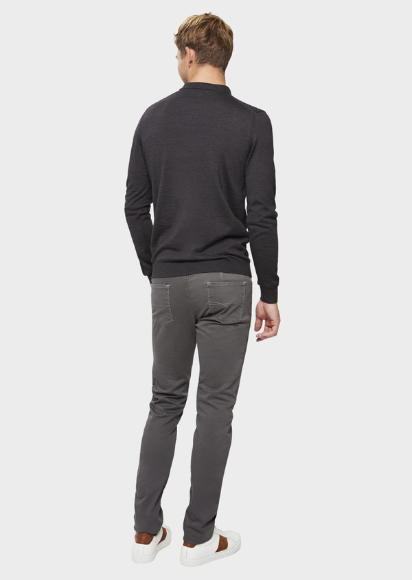 Chino slack skinny en coton stretch gris à pois - Father and Sons 41800