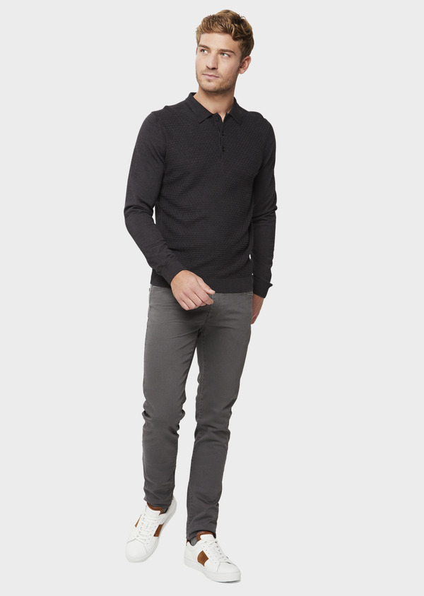 Chino slack skinny en coton stretch gris à pois - Father and Sons 41799