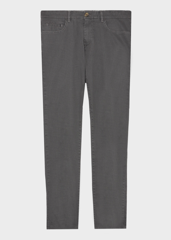 Chino slack skinny en coton stretch gris à pois - Father and Sons 41798