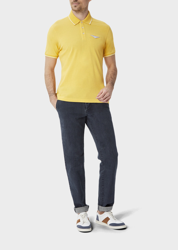 Chino slack skinny en coton stretch bleu Prince de Galles - Father and Sons 40051