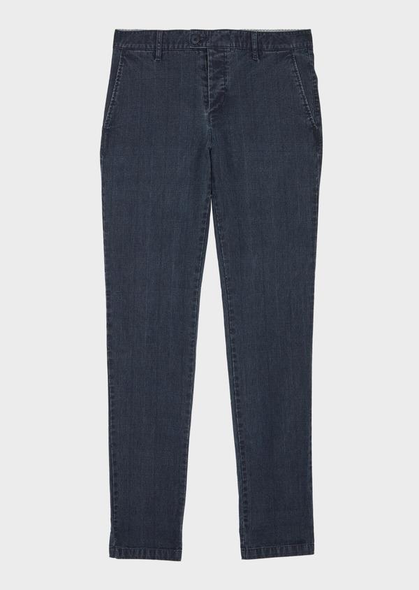 Chino slack skinny en coton stretch bleu Prince de Galles - Father and Sons 40049