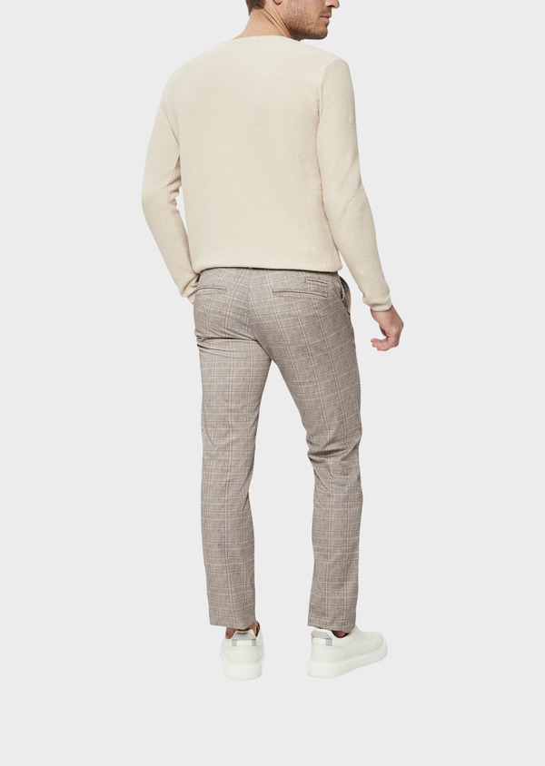 Chino slack skinny en coton stretch camel Prince de Galles - Father and Sons 39380