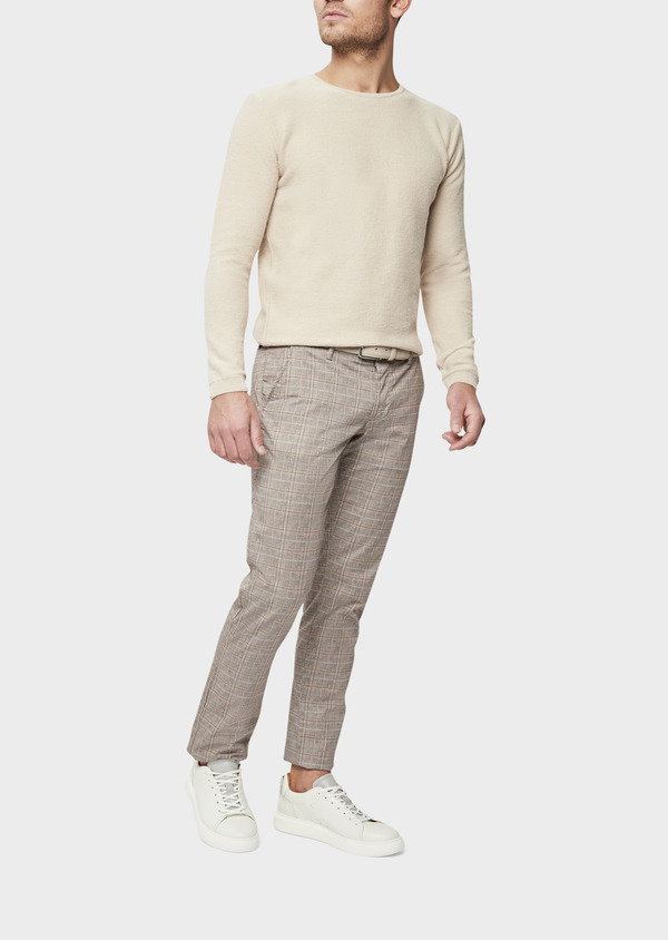 Chino slack skinny en coton stretch camel Prince de Galles - Father and Sons 39379