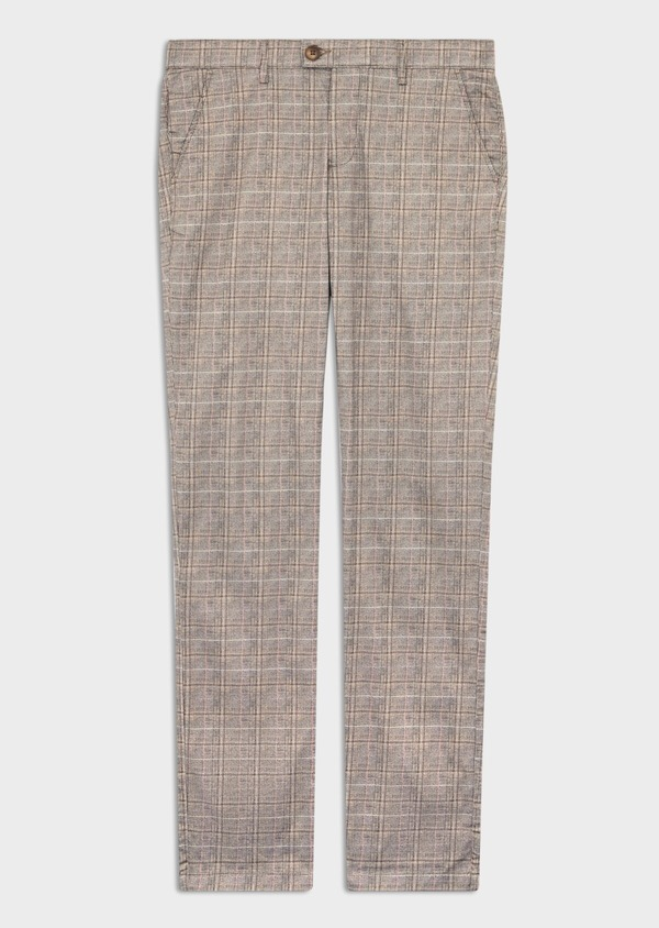 Chino slack skinny en coton stretch camel Prince de Galles - Father and Sons 39377