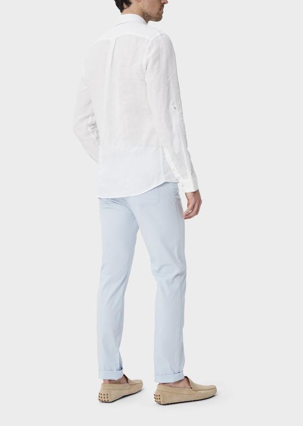 Pantalon casual skinny en coton stretch bleu ciel à rayures - Father and Sons 39867