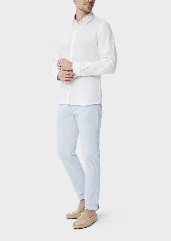 Pantalon casual skinny en coton stretch bleu ciel à rayures - Father and Sons 39866