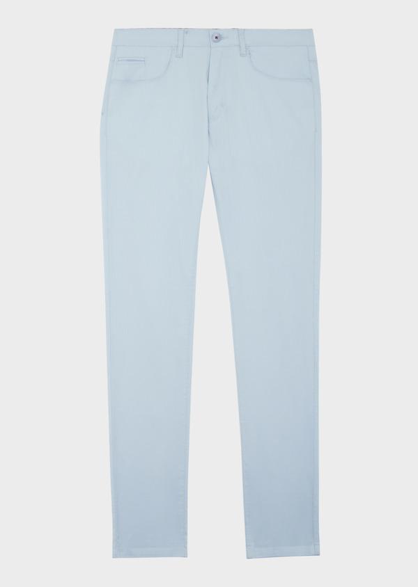 Pantalon casual skinny en coton stretch bleu ciel à rayures - Father and Sons 39864