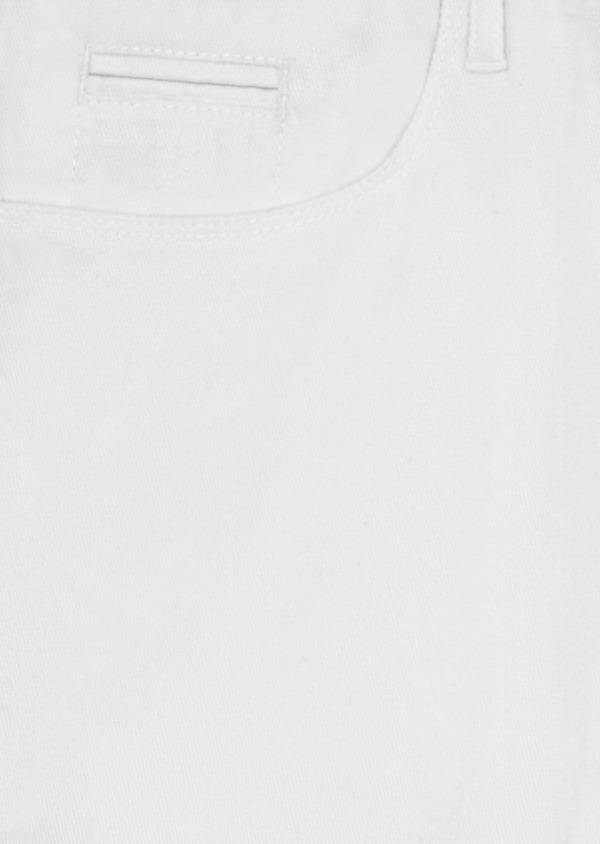 Pantalon casual skinny en coton stretch uni blanc - Father and Sons 40440