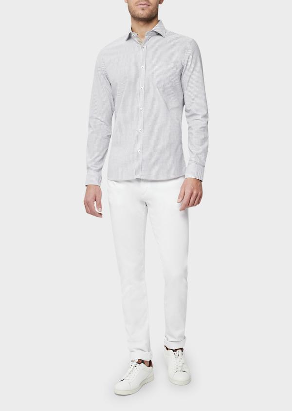 Pantalon casual skinny en coton stretch uni blanc - Father and Sons 40441