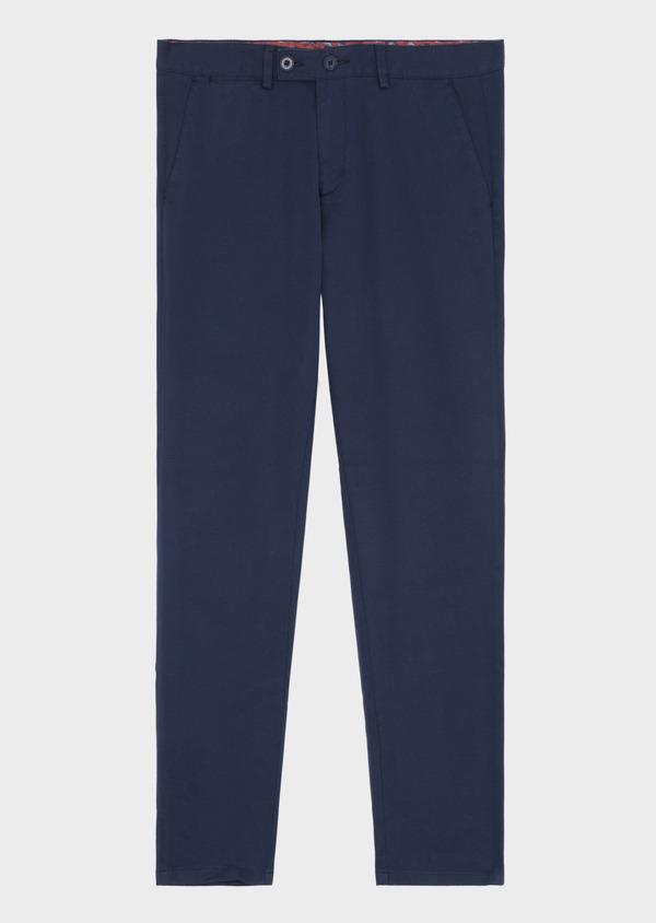 Chino skinny 7/8ème en coton stretch uni bleu indigo - Father and Sons 38688