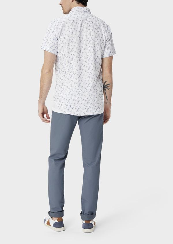 Pantalon casual skinny en coton stretch uni bleu chambray - Father and Sons 40048