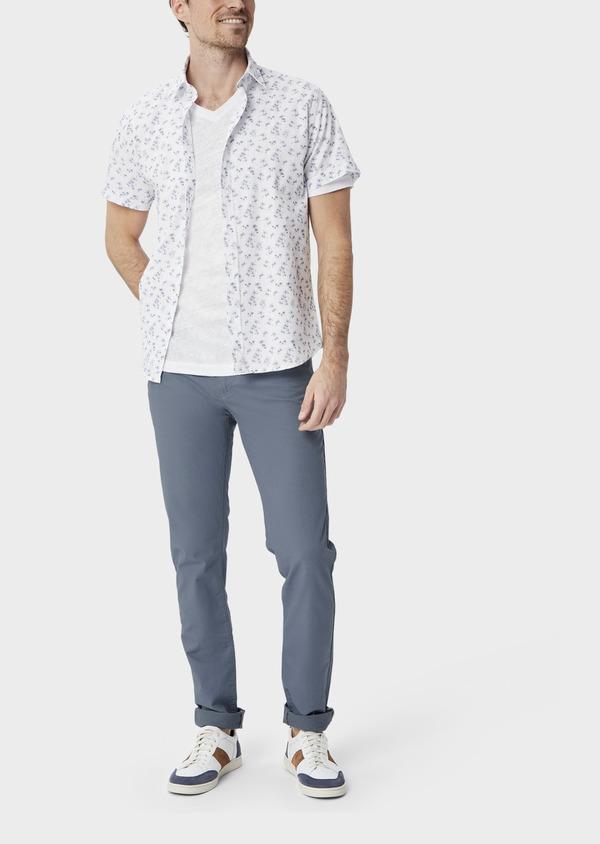 Pantalon casual skinny en coton stretch uni bleu chambray - Father and Sons 40047