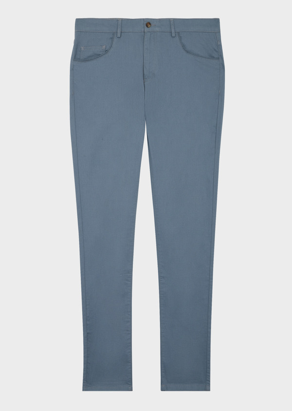 Pantalon casual skinny en coton stretch uni bleu chambray - Father and Sons 40045