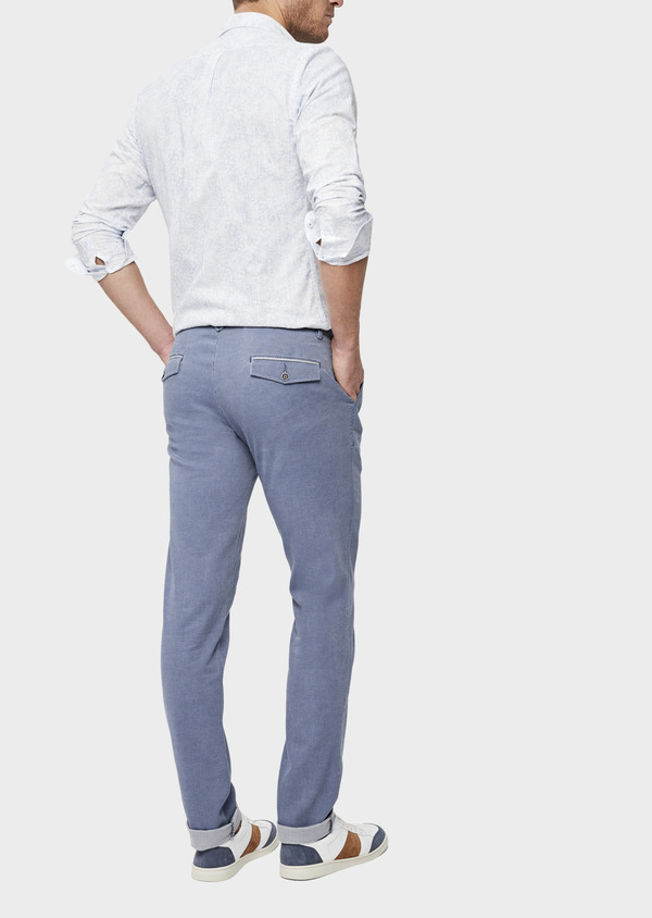 Chino slack skinny en coton stretch uni bleu - Father and Sons 38723