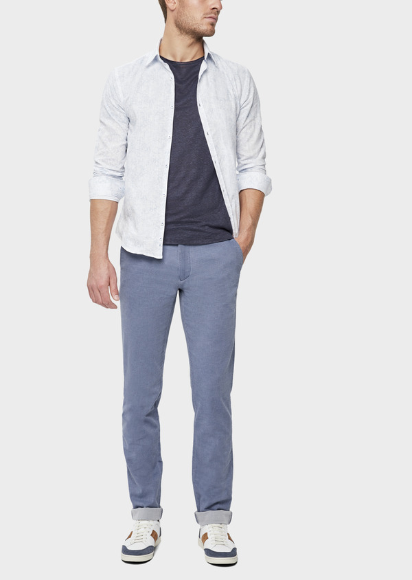 Chino slack skinny en coton stretch uni bleu - Father and Sons 38722