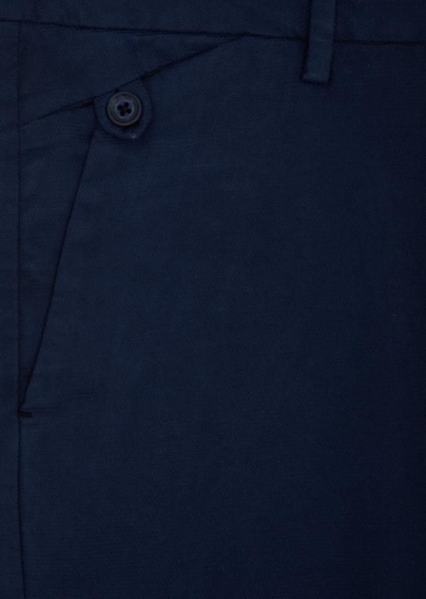 Chino slack skinny en coton façonné stretch uni bleu - Father and Sons 40444