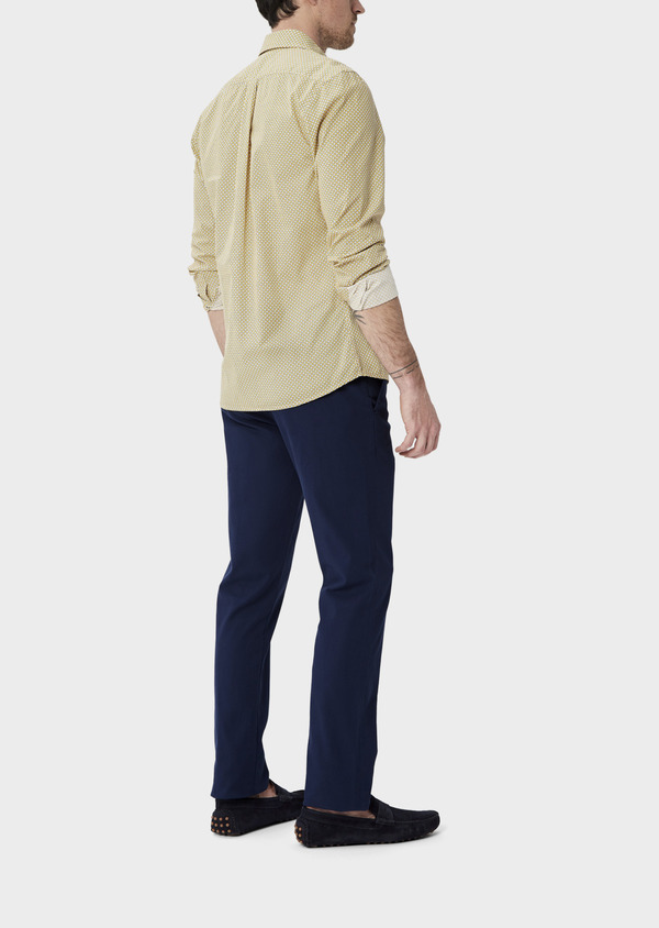 Chino slack skinny en coton façonné stretch uni bleu - Father and Sons 40446