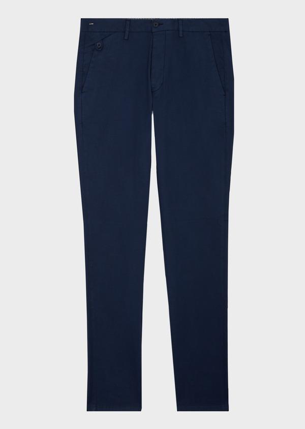 Chino slack skinny en coton façonné stretch uni bleu - Father and Sons 40443