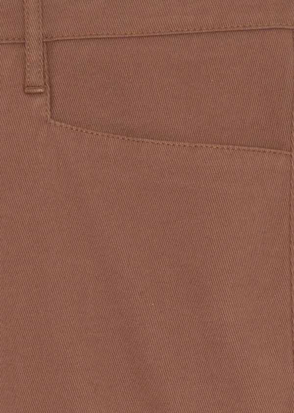 Pantalon casual skinny en coton stretch uni marron - Father and Sons 38717