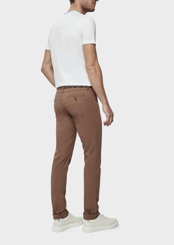 Pantalon casual skinny en coton stretch uni marron - Father and Sons 38719