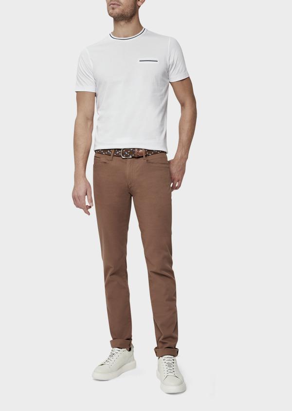 Pantalon casual skinny en coton stretch uni marron - Father and Sons 38718