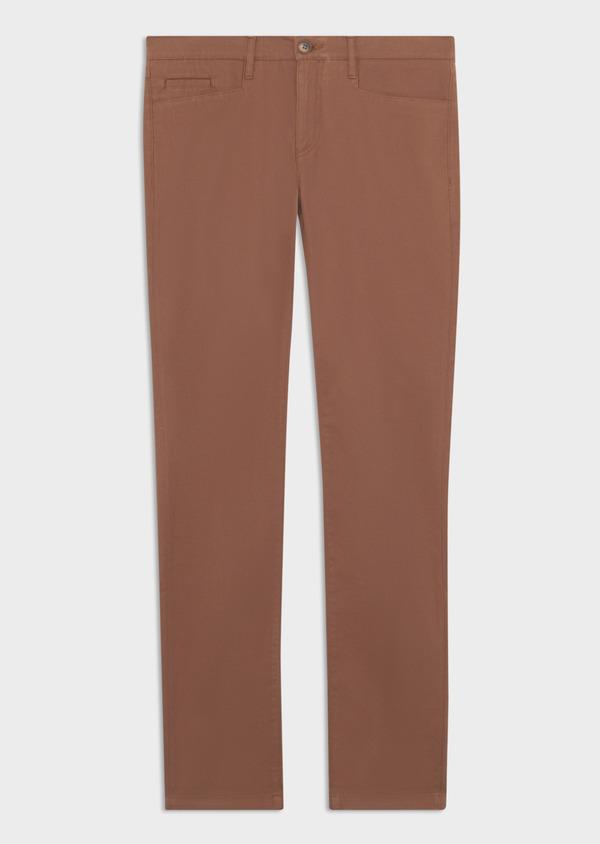 Pantalon casual skinny en coton stretch uni marron - Father and Sons 38716