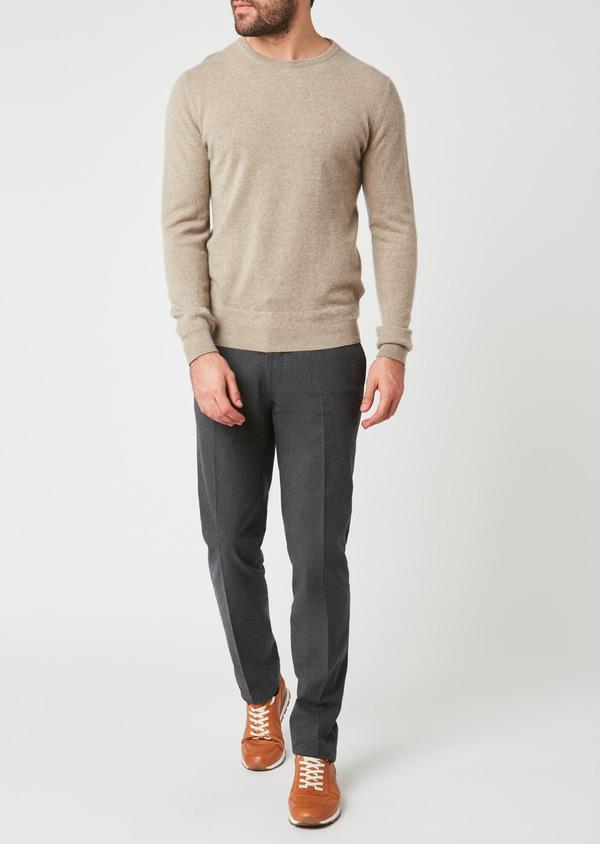 Pantalon coordonnable Slim en coton façonné uni gris - Father and Sons 27997