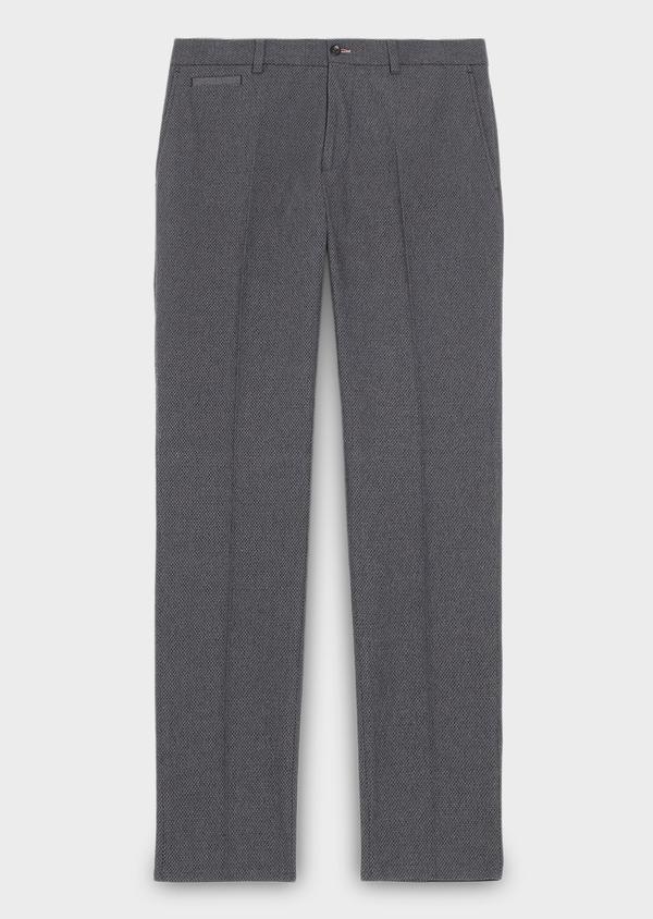 Pantalon coordonnable Slim en coton façonné uni gris - Father and Sons 27995