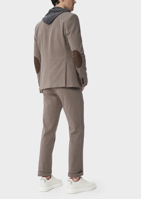 Pantalon coordonnable Slim en coton stretch uni marron - Father and Sons 39859