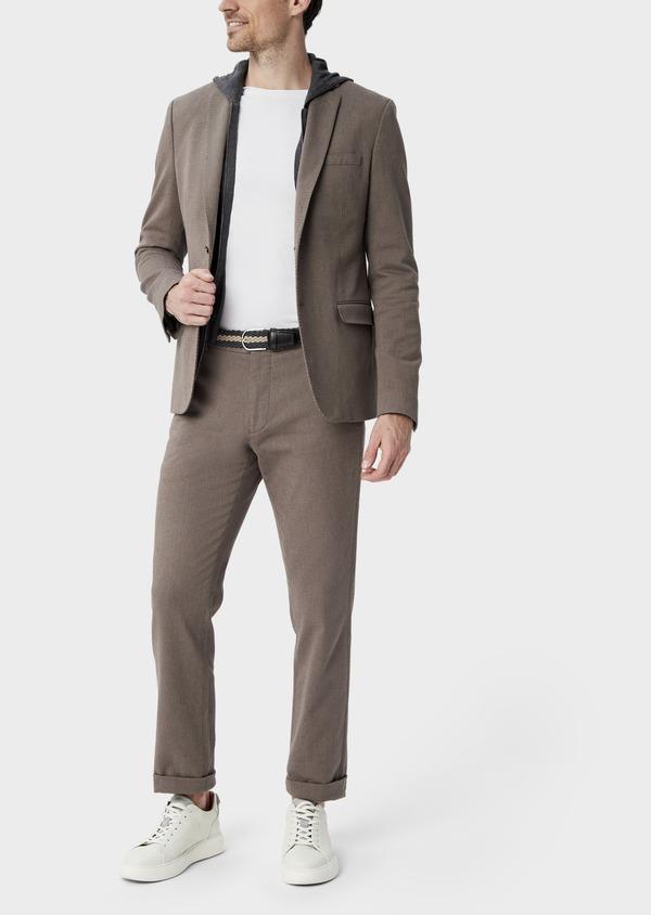 Pantalon coordonnable Slim en coton stretch uni marron - Father and Sons 39858