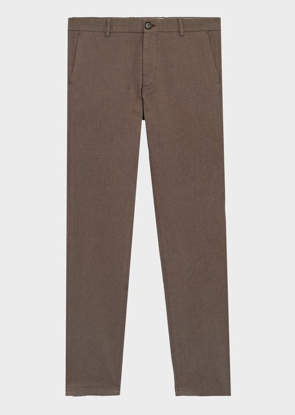 Pantalon coordonnable Slim en coton stretch uni marron - Father and Sons 39856