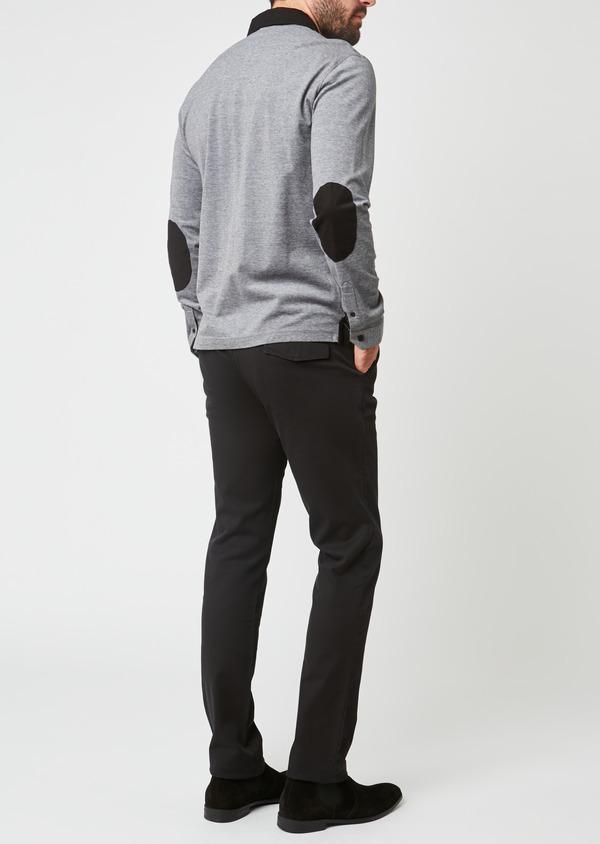 Chino slack skinny en coton façonné uni noir - Father and Sons 27992