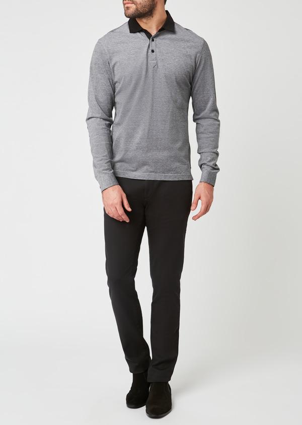 Chino slack skinny en coton façonné uni noir - Father and Sons 27991