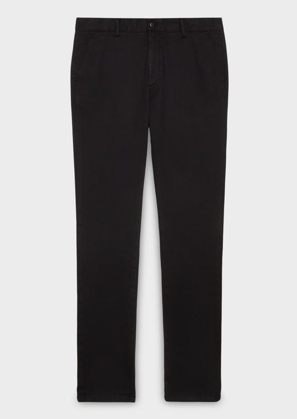 Chino slack skinny en coton façonné uni noir - Father and Sons 27989