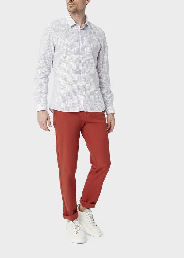 Chino slack skinny en coton stretch uni rouge foncé - Father and Sons 40186