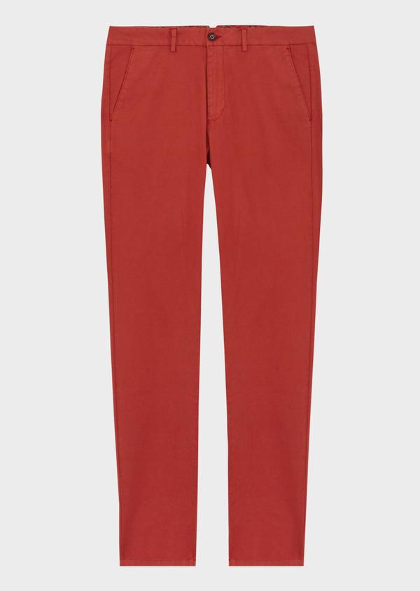 Chino slack skinny en coton stretch uni rouge foncé - Father and Sons 40184