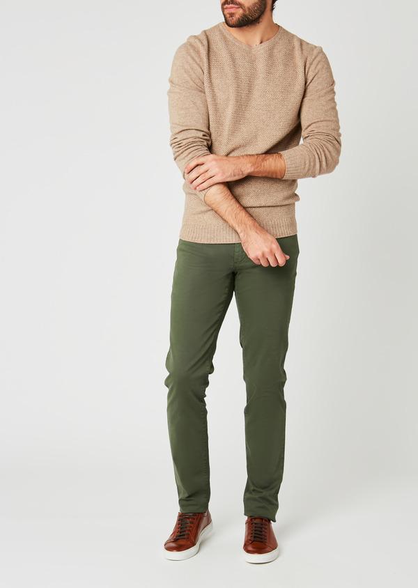 Pantalon skinny en coton stretch uni kaki - Father and Sons 26971