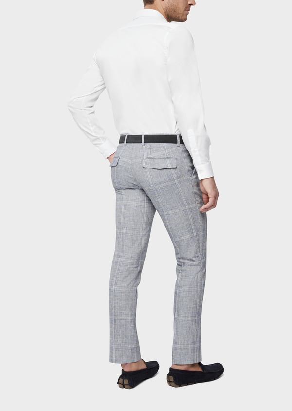 Pantalon coordonnable Slim en lin et coton bleu indigo Prince de Galles - Father and Sons 38687
