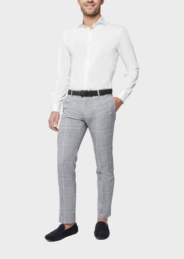 Pantalon coordonnable Slim en lin et coton bleu indigo Prince de Galles - Father and Sons 38686