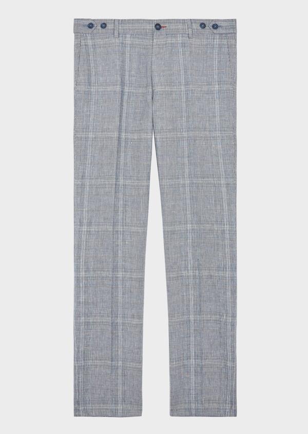 Pantalon coordonnable Slim en lin et coton bleu indigo Prince de Galles - Father and Sons 38684