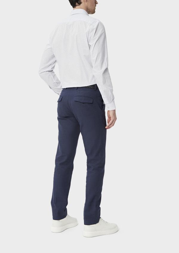 Pantalon coordonnable Slim en lin et coton bleu marine Prince de Galles - Father and Sons 39863