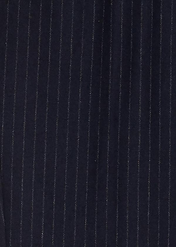 Pantalon Slim coordonnable en laine bleu marine à rayures - Father and Sons 26964