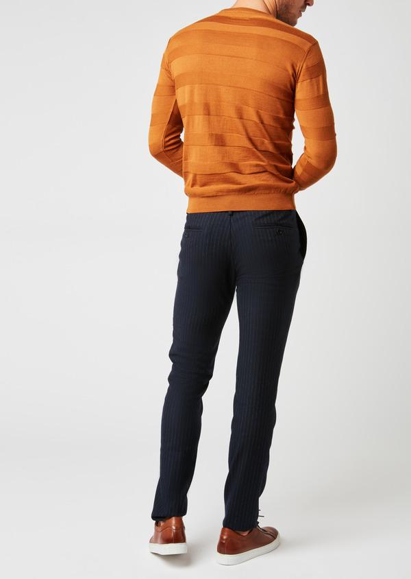 Pantalon Slim coordonnable en laine bleu marine à rayures - Father and Sons 26966