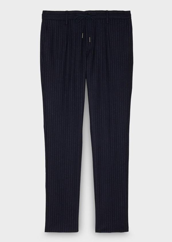 Pantalon Slim coordonnable en laine bleu marine à rayures - Father and Sons 26963