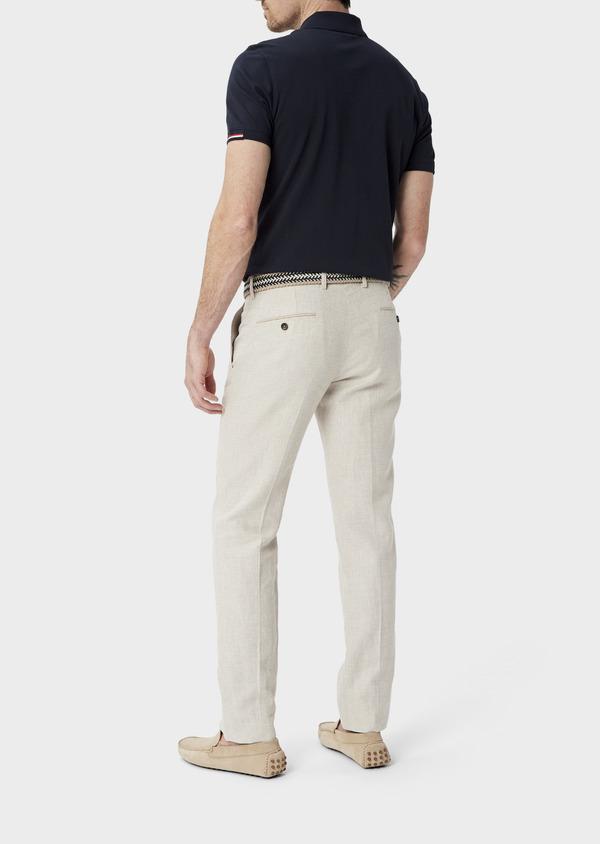 Pantalon coordonnable Slim en lin et coton uni beige - Father and Sons 40056