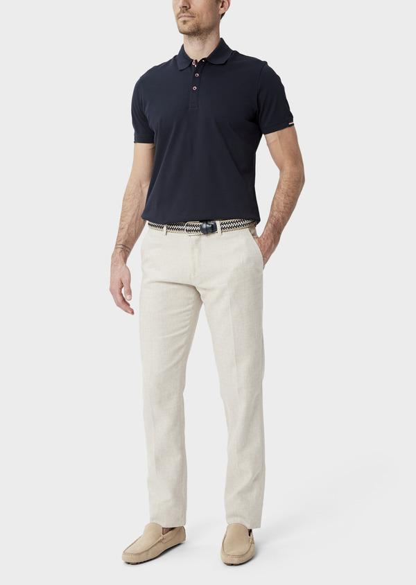Pantalon coordonnable Slim en lin et coton uni beige - Father and Sons 40055